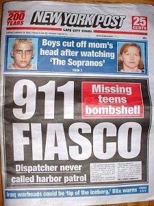 Titulní stránka The New York Post z 26. ledna 2003... 911ka nereagovala na 13 sekund trvající zmatené a nesrozumitelné volání z potápějící se loďky...